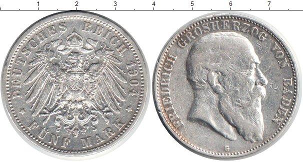 Картинка Монеты Баден 5 марок Серебро 1904