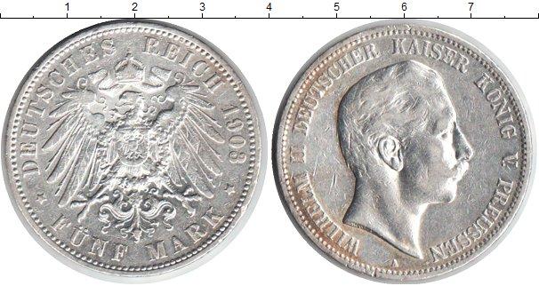 Картинка Монеты Пруссия 5 марок Серебро 1903