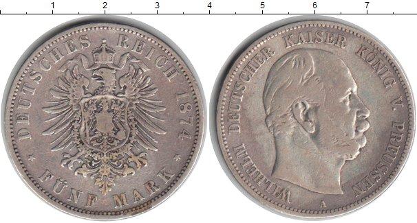 Картинка Монеты Пруссия 5 марок Серебро 1874