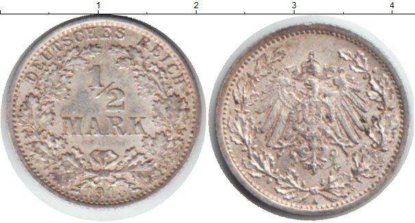 Картинка Монеты Германия 1/2 марки Серебро 1913