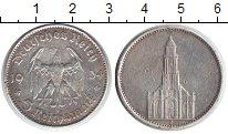 Изображение Монеты Третий Рейх 5 марок 1934 Посеребрение VF Кирха Герб Германии.