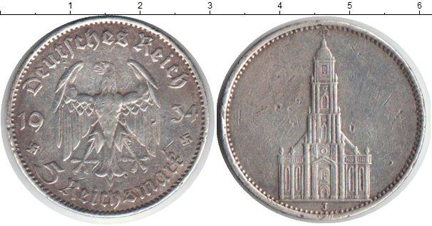 Картинка Монеты Третий Рейх 5 марок Посеребрение 1934