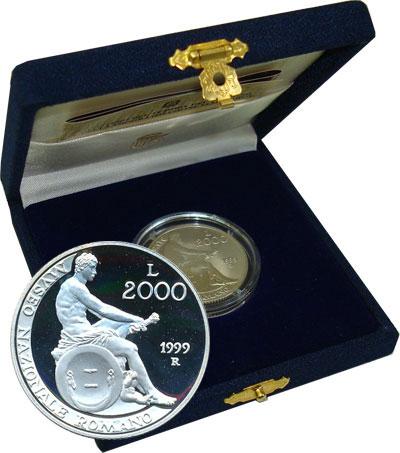 Изображение Подарочные монеты Италия Римский национальный музей 1999 Серебро Proof Представляем Вашему