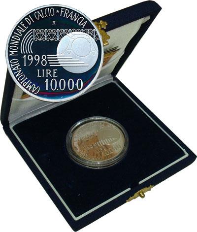 Изображение Подарочные монеты Италия 16-й чемпионат мира по футболу ФИФА 1998 Серебро Proof Представляем Вашему