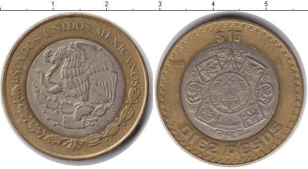 Картинка Монеты Мексика 10 песо Биметалл 2010