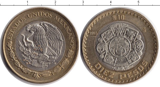Картинка Монеты Мексика 10 песо Биметалл 2001