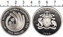 Изображение Монеты Барбадос 5 долларов 1994 Серебро Proof Глобальная Конференц