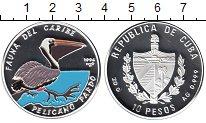 Изображение Монеты Куба 10 песо 1994 Серебро Proof- Пеликан