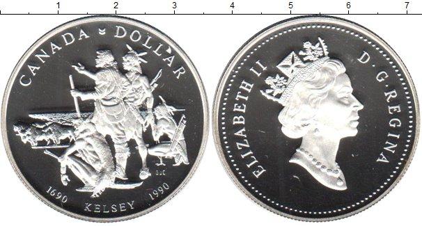 Картинка Монеты Канада 1 доллар Серебро 1990