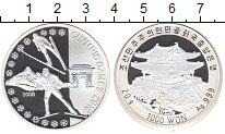 Изображение Монеты Северная Корея 1.000 вон 2008 Серебро Proof- Олимпийские игры 201