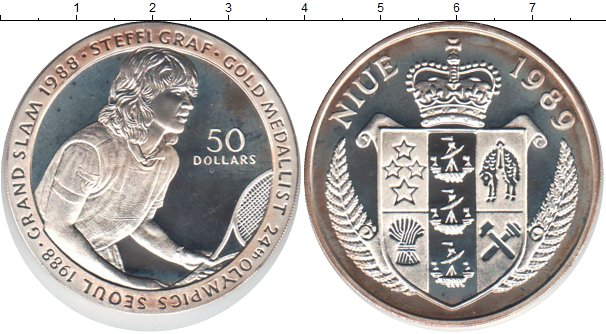 Картинка Монеты Ниуэ 50 долларов Серебро 1989