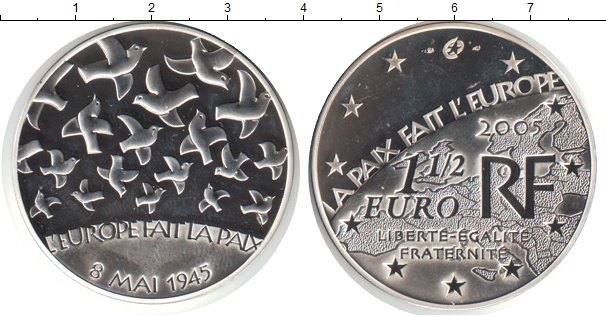 Картинка Монеты Франция 1 1/2 евро Серебро 2005