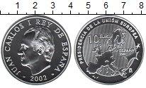 Изображение Монеты Испания 10 евро 2002 Серебро UNC- Хуан Карлос I. Прези