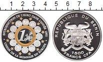 Изображение Монеты Бенин 1500 франков 2002 Серебро Proof- Единая валюта Европы