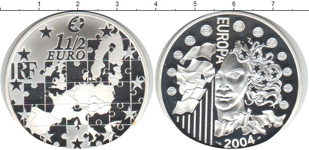 Картинка Монеты Франция 1 1/2 евро Серебро 2004