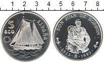 Изображение Монеты Испания 5 экю 1993 Серебро Proof- Дон Хуан. Парусное с