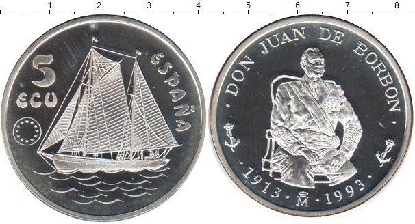 Картинка Монеты Испания 5 экю Серебро 1993