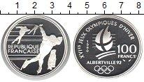 Изображение Монеты Франция 100 франков 1990 Серебро Proof- Олимпийские игры Аль
