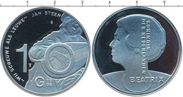 Картинка Монеты Нидерланды 10 гульденов Серебро 1996