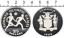 Изображение Монеты Ямайка 25 долларов 1988 Серебро Proof- Летние Олимпийские и