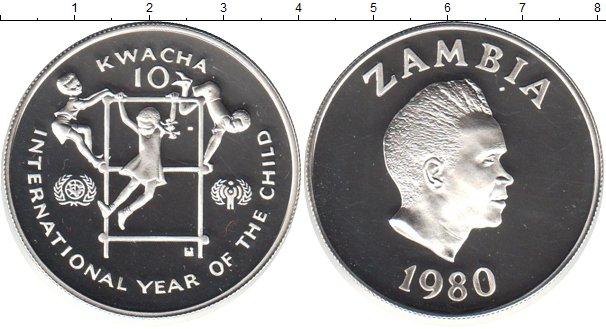 Картинка Монеты Замбия 10 квач Серебро 1980