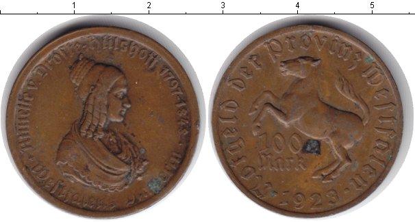 Картинка Монеты Вестфалия 100 марок Медь 1923