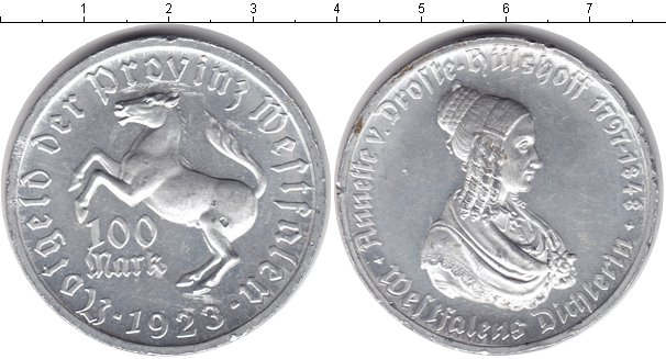 Картинка Монеты Вестфалия 100 марок Алюминий 1923