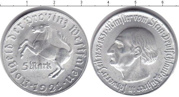 Картинка Монеты Вестфалия 5 марок Алюминий 1921
