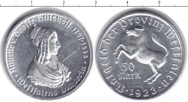 Картинка Монеты Вестфалия 50 марок Алюминий 1923