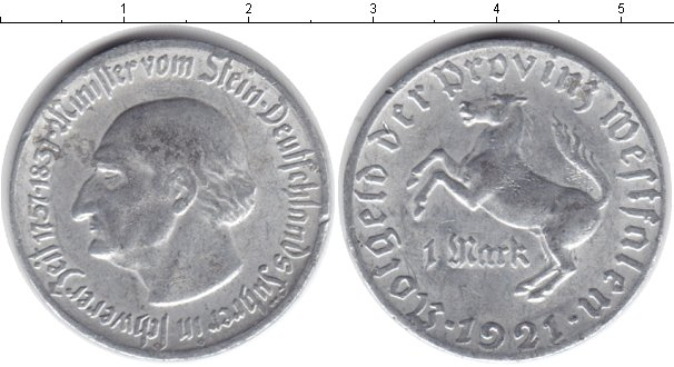 Картинка Монеты Вестфалия 1 марка Алюминий 1921