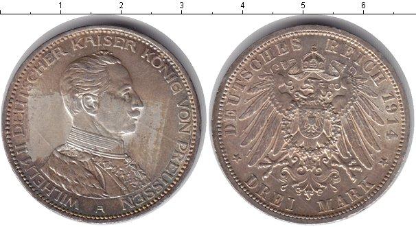 Картинка Монеты Пруссия 3 марки Серебро 1914