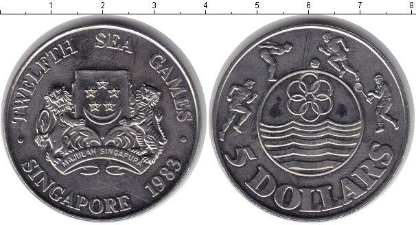 Картинка Монеты Сингапур 5 долларов Медно-никель 1983