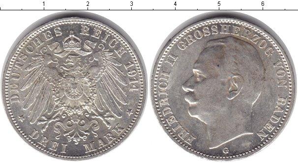 Картинка Монеты Баден 3 марки Серебро 1914