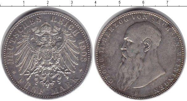 Картинка Монеты Саксен-Майнинген 5 марок Серебро 1908