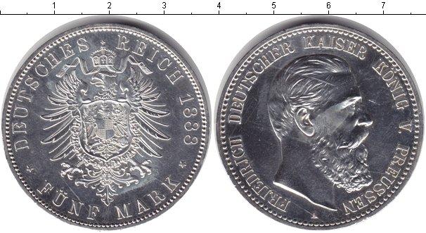 Картинка Монеты Пруссия 5 марок Серебро 1888
