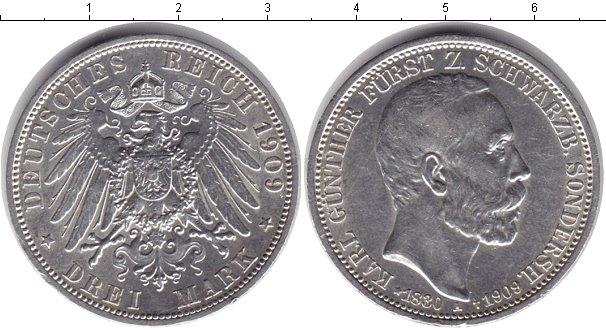 Картинка Монеты Шварцбург-Зондерхаузен 3 марки Серебро 1909