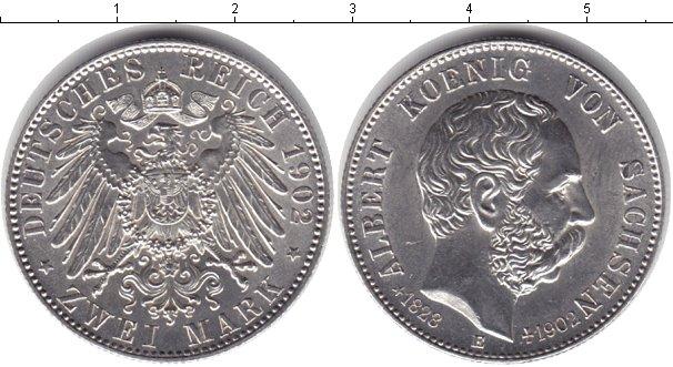Картинка Монеты Саксония 2 марки Серебро 1902