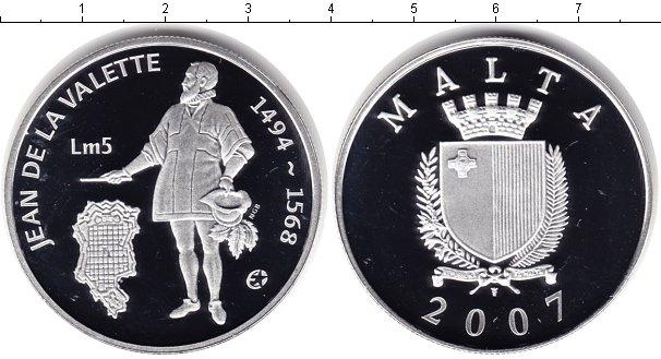Картинка Монеты Мальта 5 лир Серебро 2007