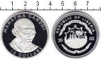 Изображение Монеты Либерия 10 долларов 2002 Серебро Proof- Махатма Ганди