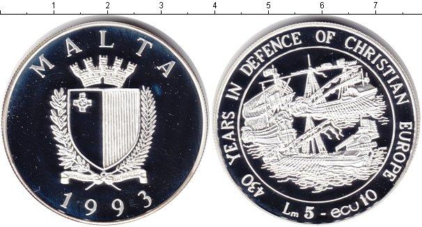 Картинка Монеты Мальта 5 лир Серебро 2005
