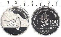 Изображение Монеты Франция 100 франков 1989 Серебро Proof- Олимпиада Альбертвил