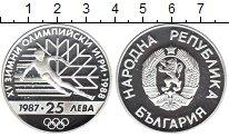 Изображение Монеты Болгария 25 лев 1987 Серебро UNC- XV зимняя Олимпиада