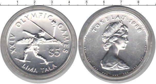 Картинка Монеты Токелау 5 тала Серебро 1988