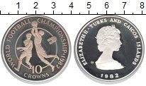Изображение Монеты Теркc и Кайкос 10 крон 1982 Серебро Proof- Елизавета II. Чемпио