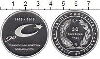 Изображение Монеты Турция 50 лир 2013 Серебро Proof- 90 лет Турецкой госу