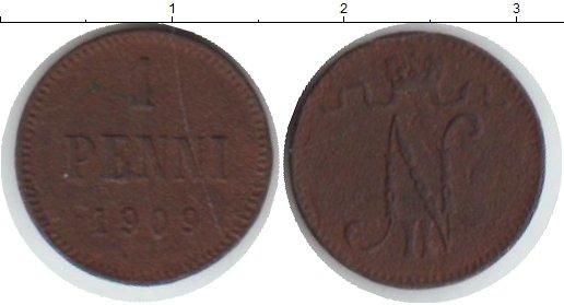 Картинка Монеты Финляндия 1 пенни Медь 1909