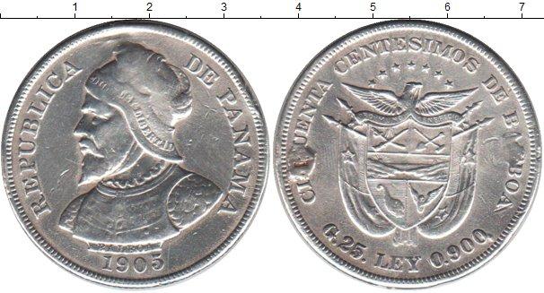 Картинка Монеты Панама 50 сентесимо Серебро 1905