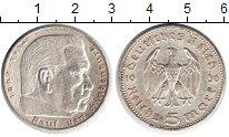 Изображение Монеты Третий Рейх 5 марок 1936 Серебро XF А. Пауль фон Гинденб