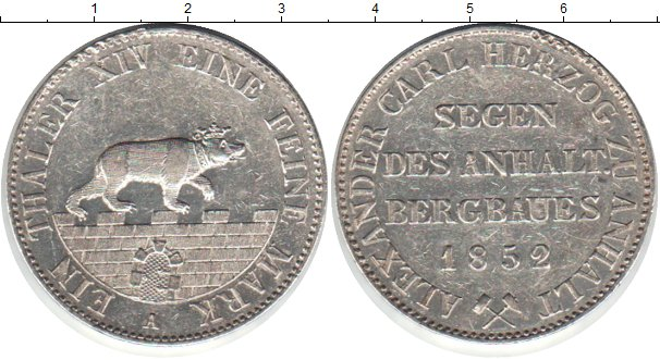 Картинка Монеты Анхальт 1 талер Серебро 1852