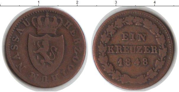 Картинка Монеты Нассау 1 крейцер Медь 1848